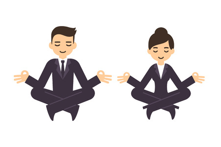 'peace of mind': Cartoon businessman and woman in formal suits meditating in lotus pose. Isolated on white background.
