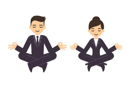 Empresario de dibujos animados y la mujer en trajes formales meditando en posición de loto. Aislado en el fondo blanco. Ilustración de vector