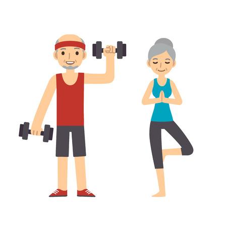 Actief en gezond hoger paar: cartoon man met halters en vrouw doet yoga, geïsoleerd op een witte achtergrond. Moderne minimalistische platte vector stijl. Vector Illustratie