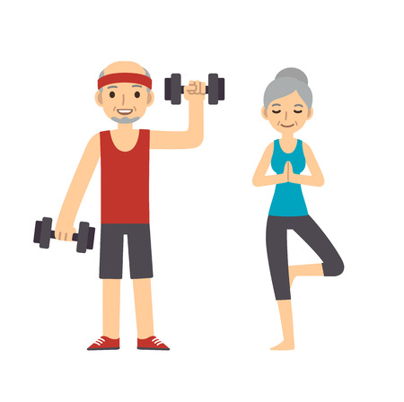 senior exercise: Active and healthy senior couple: cartoon man with dumbbells and woman doing yoga, isolated on white background. Modern minimalistic flat vector style.