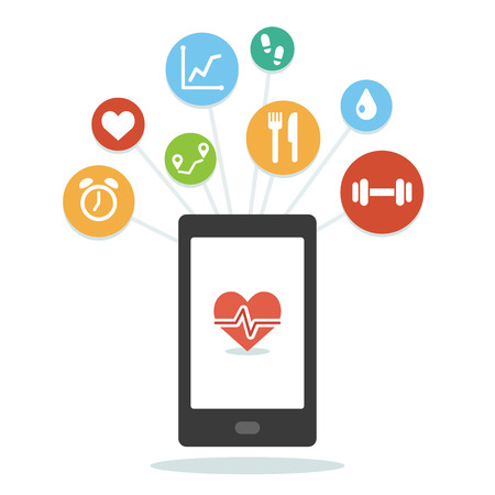 health and wellness: Health monitoring smartphone app with various wellness icons. Simple and modern flat vector style.