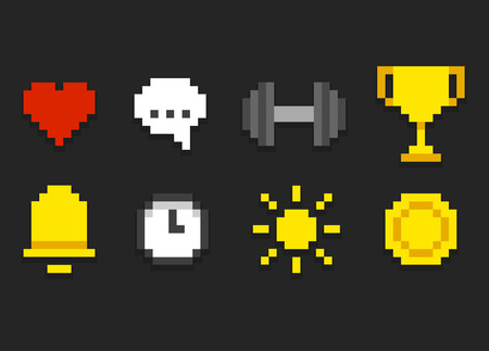 game design: Pixel icons for app, web or video game interface. Health and activity, alarm and notification and emore.