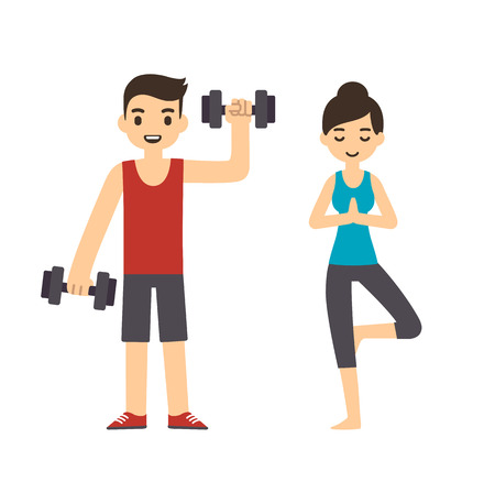 lifting weights: Cute cartoon style couple: man with dumbbells and woman doing yoga, isolated on white background. Modern minimalistic flat vector style.