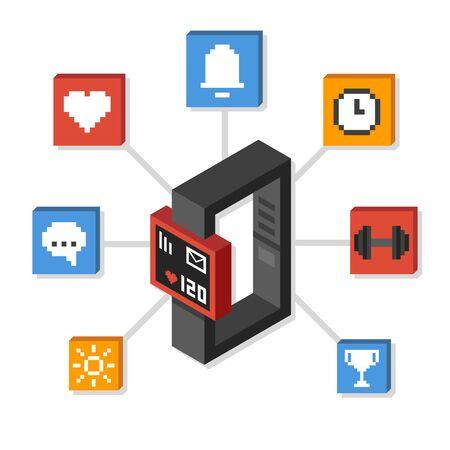 알림: Stylized isometric smartwatch or fitness tracker surrounded by pixel icons illustrating its functions: health monitoring, alarm and notification, exercise and more.