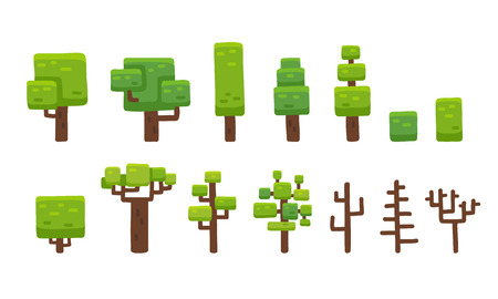 Set of stylized hand drawn cartoon trees isolated on white, suitable for platformer video game level backgrounds. Illustration