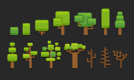 Set of stylized cartoon trees, suitable for platformer video game level backgrounds. Illustration