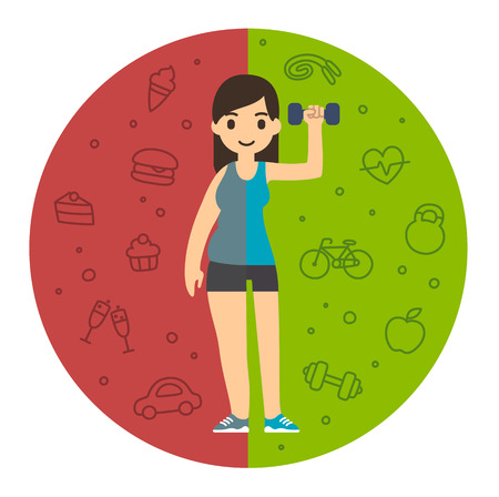 unfit: Divided cartoon woman, fat on the left and fit on the right. Background with symbols of different lifestyles: unhealthy and active. Illustration