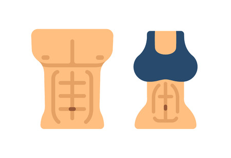 topless women: Stylized flat vector illustration of male and female torso with defined abdominals.