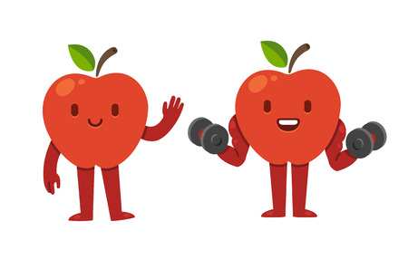 cartoon apple: Cute cartoon apple character, symbolizing the idea of fitness and healthy diet. Two facial expressions and poses: waving and holding dumbbells.