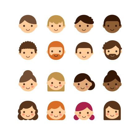 diversidad: Conjunto de diversos avatares masculinos y femeninos aislados en fondo blanco. Diferentes tonos de piel, colores y estilos de pelo. Estilo de dibujos animados plana lindo y simple.