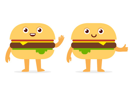 cheeseburger: Cartoon fast food mascot: cute smiling burger character, two variants with different faces and poses. Simple and modern flat vector style.