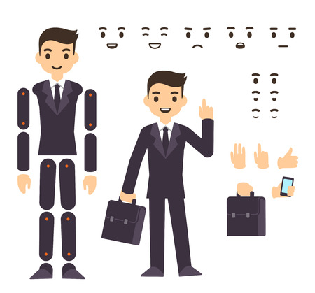 set: Young businessman cartoon character in formal suit, animation ready vector doll with separate joints. Extra gestures, facial expressions and items (suitcase, smartphone)