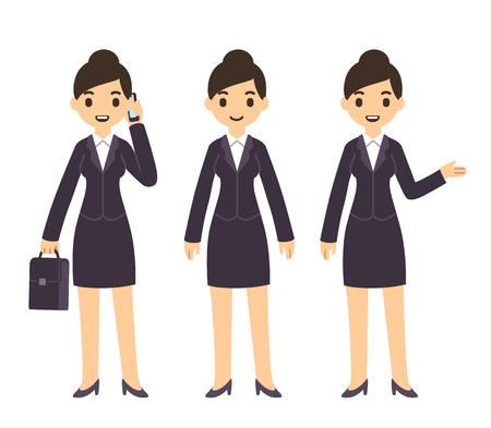 personen: Jonge mooie zakenvrouw in cartoon-stijl in pak. Drie poses: praten over de telefoon met een koffer, staand, en wijst gebaar.