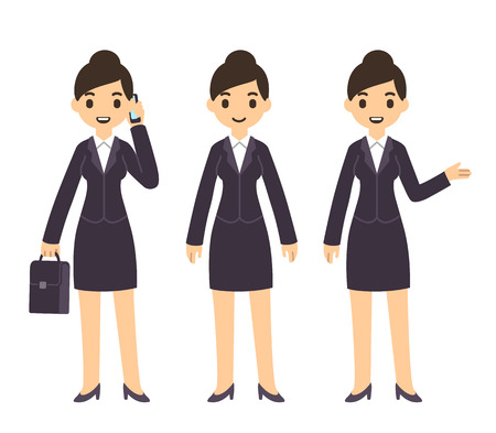 Young pretty businesswoman in cartoon style in business suit. Three poses: talking on the phone with suitcase, standing, and pointing gesture.
