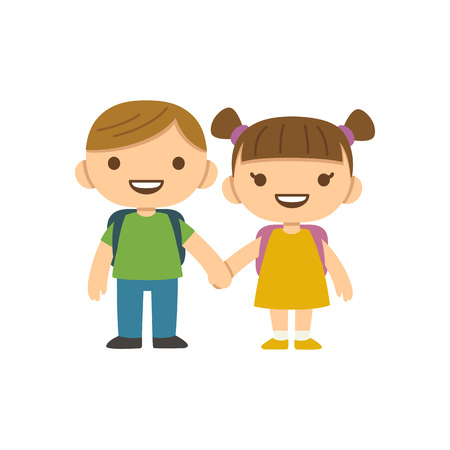 Two cute cartoon children with school backpacks smiling and holding hands. Older boy and smaller girl in dress with pigtails. Illustration