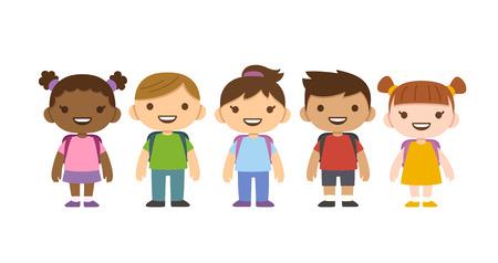 흰색 배경에 고립 된 학교 배낭 귀여운 만화 다양 한 아이. 다른 국적과 옷.