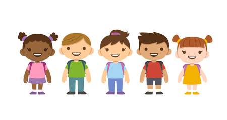 mixed race children: Cute cartoon diverse children with school backpacks isolated on white background. Different nationalities and clothes.