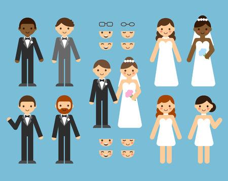 Een leuke cartoon bruidspaar constructeur in te stellen. Verschillende kleren, huidskleur, kapsels. Stock Illustratie
