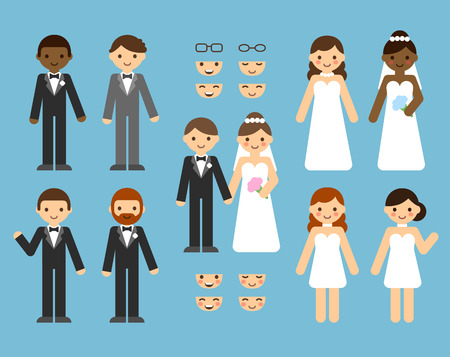 A cute cartoon wedding couple constructor set. Different clothes, skin tones, hair styles.