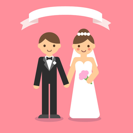 couple holding hands: Happy wedding couple holding hands with ribbon on pink background. Simple and minimalistic flat cartoon style.