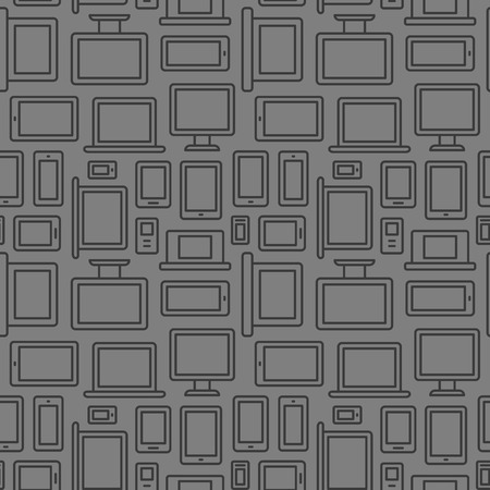 electronic devices: Seamless pattern of electronic devices: computers, laptops, smartphones and tablets. Illustration