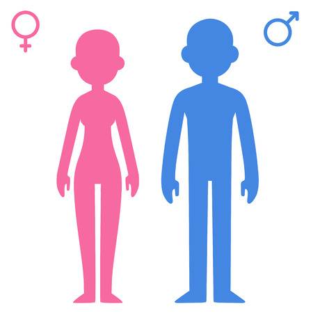 Stylized cartoon man and woman contours with corresponding gender symbols. Male silhouette colored blue and female pink.
