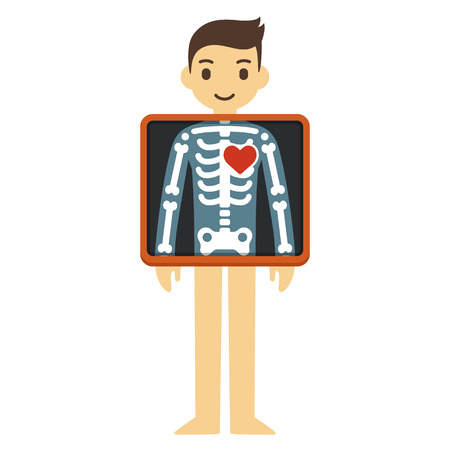 heart organ: Cute cartoon adult man with x-ray screen showing his skeleton and heart. Element of health infographics.