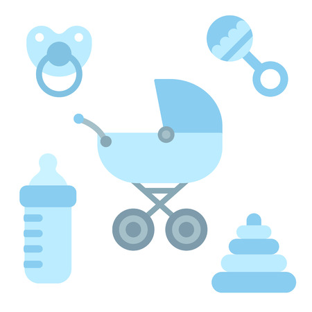 baby toys: Cute cartoon newborn baby items in boy blue color: stroller, pacifier, milk bottle and toys. Baby shower design elements.