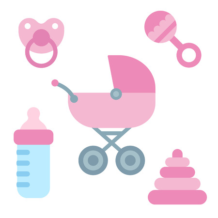 Cute cartoon newborn baby items in girly pink color: stroller, pacifier, milk bottle and toys. Baby shower design elements.
