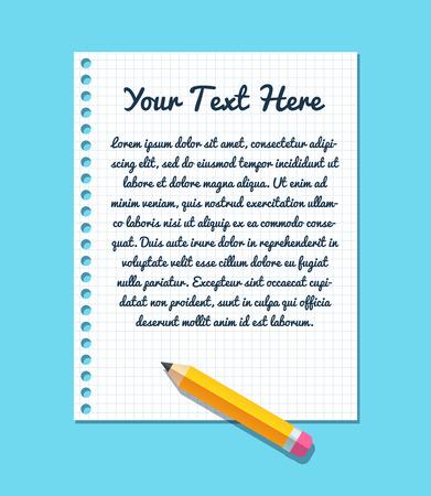 lapiz y papel: Plantilla de texto en la hoja de papel de cuaderno forrado con lápiz plana.
