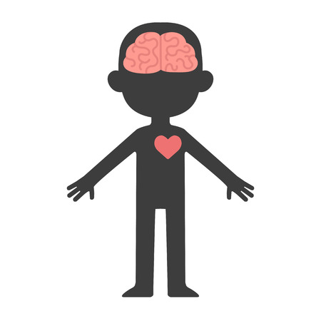 Cartoon human body silhouette with visible brain and heart.