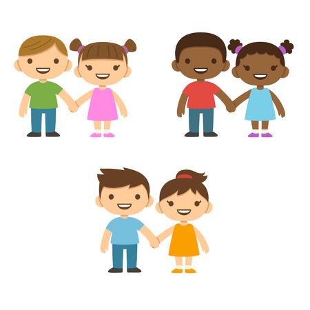 african boys: Three pairs of cute cartoon children smiling and holding hands: older boys and smaller girls. Caucasian and African American. Illustration
