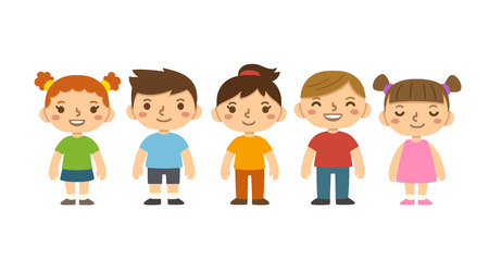 ni�os en la escuela: Un grupo de ni�os en edad preescolar lindo de dibujos animados aislado en backdround blanco. Diferentes expresiones faciales, peinados y ropa.