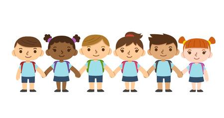 uniforme escolar: Un conjunto de seis niños diversos lindos que llevan uniforme escolar con mochilas y tomados de la mano. Diferentes tonos de piel, peinados y expresiones faciales. Vectores