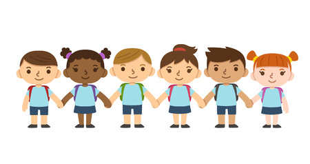 Un ensemble de six enfants mignons diverses portant l'uniforme de l'école avec des sacs à dos et les mains tenant. Différents skintones, les coiffures et les expressions faciales. Vecteurs