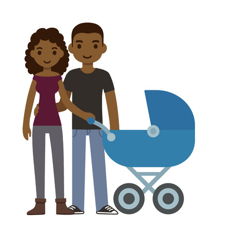 african american couple: Cute cartoon young black couple with a baby in a stroller, isolated on white background.