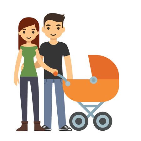 papa y mama: Historieta linda pareja joven con un bebé en un cochecito, aislado en fondo blanco.