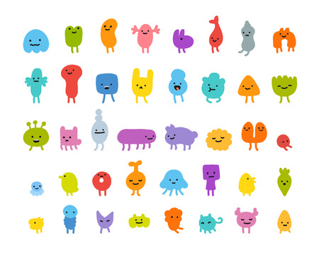 Set of cute little cartoon monsters with different shapes, colors and facial expressions.