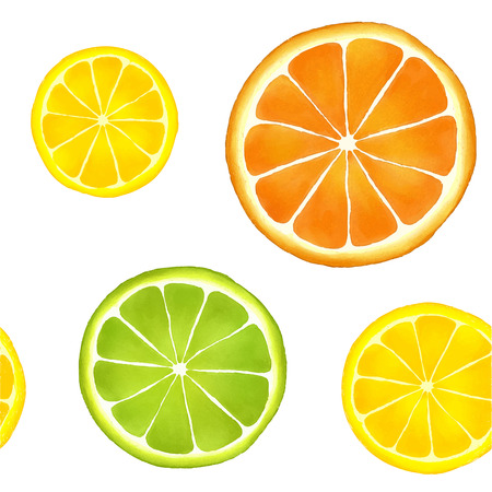 lemon slices: Seamless pattern of watercolor citrus fruits: orange, lemon and lime.