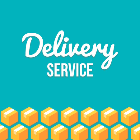 that: Delivery service design template with pattern of isometric parcels that can be tiled seamlessly to left and right to create optimal width. Illustration