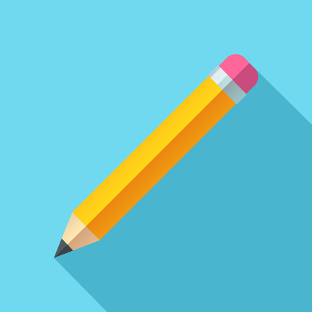crisp: Flat pencil icon on blue background. Bright, crisp and simple style.