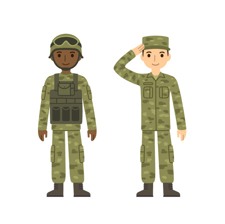 american army: Two young soldiers, caucasian and african american, in two kinds of camouflage combat uniform. Cute flat cartoon style. Isolated on white background.