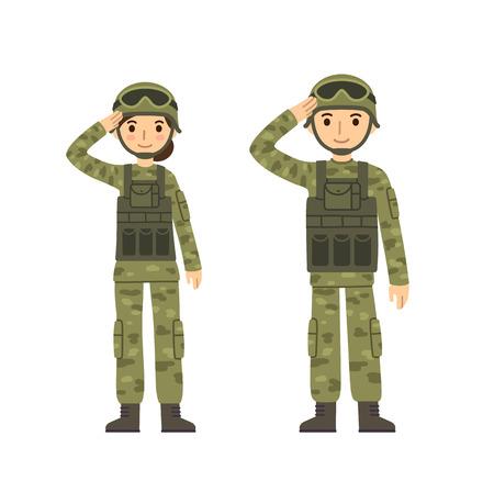 Dwóch młodych żołnierzy, mężczyzna i kobieta, w kamuflaż walki jednolitego salutowania. Śliczne mieszkanie w stylu cartoon. Pojedynczo na białym tle.