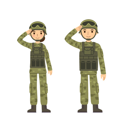 military helmet: Two young soldiers, man and woman, in camouflage combat uniform saluting. Cute flat cartoon style. Isolated on white background.