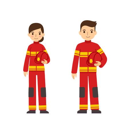 Dos jóvenes bomberos, hombre y mujer, en lindo estilo plano de dibujos animados. Aislado sobre fondo blanco