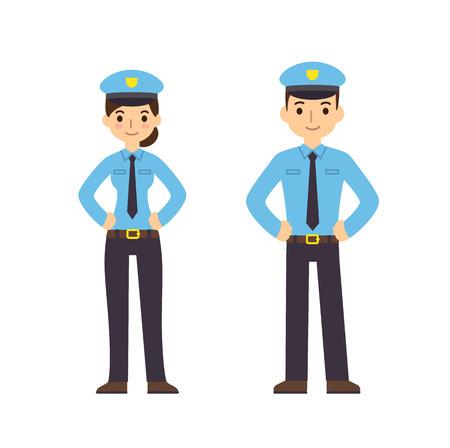 enforcement: Two young police officers, man and woman, in cute flat cartoon style. Isolated on white background.