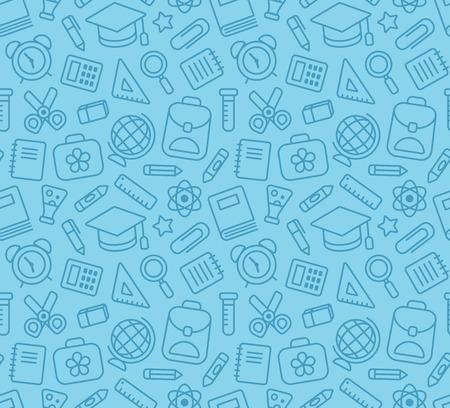 aprendizaje: Modelo inconsútil de la escuela y la educación relacionada símbolos: papelería, de aprendizaje y de ciencias metáforas y diversos útiles escolares.