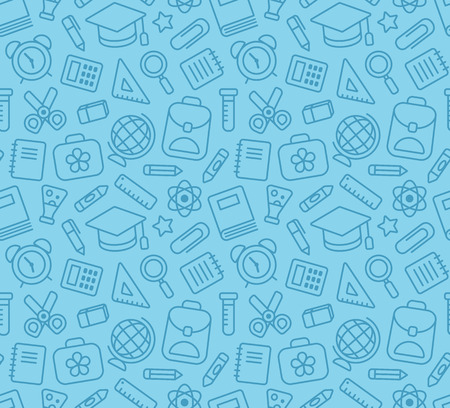 crayon  scissors: Seamless pattern of school and education related symbols: stationery, learning and science metaphors and various school supplies.