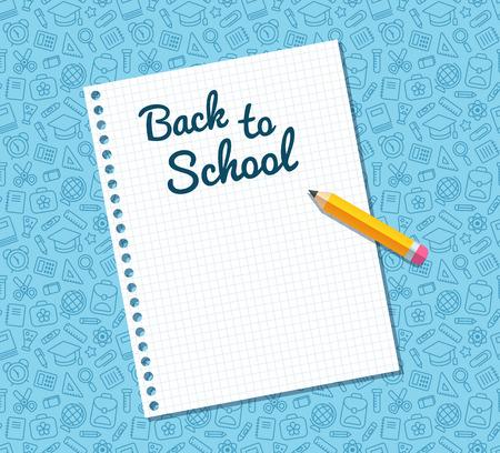 Terug naar school tekst op een vel gelinieerd notebook papier en plat potlood op blauw patroon van het onderwijs gerelateerde symbolen. Textuur kan naadloos worden betegeld in elke gewenste richting. Stock Illustratie