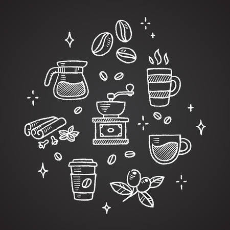Set of chalk coffee doodles. Beans, cups, spices and more. Illustration